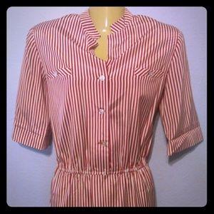 Vtg Satin Vertical Candy Stripe sheath dress
